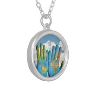 Colorful Painted World Map in Hands, Art Photo Round Pendant Necklace