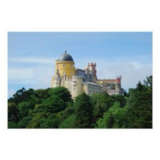 Colorful Palace of Pena landscape view in Sintra Poster