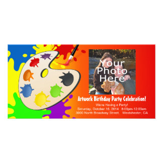 Colorful Palate Art Party Personalised Photo Card