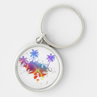 Colorful Palm Trees Illustration Silver-Colored Round Key Ring