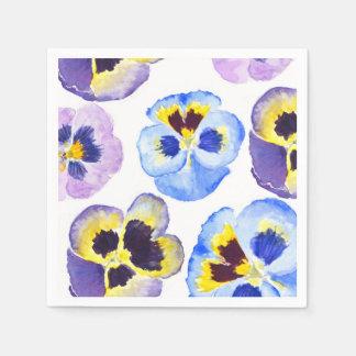 colorful pansies disposable serviette