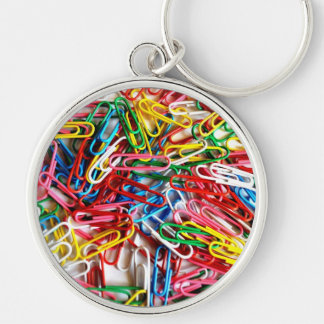 Colorful Paper Clips Office Supply Gifts Silver-Colored Round Key Ring