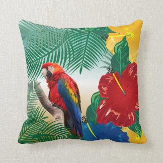 Colorful Parakeet on a Tropical Beach Design Cushion