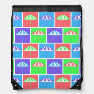 Colorful parasol pattern drawstring backpack