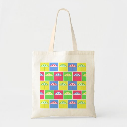 Colorful parasol pattern tote bags