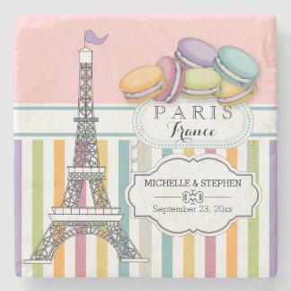 Colorful Paris Macaron Eiffel Tower Names Wedding Stone Coaster