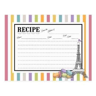 Colorful Paris Macaron Eiffel Tower Recipe Card