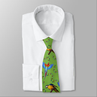 Colorful Parrots Scarlet Blue and Gold Macaw Tie