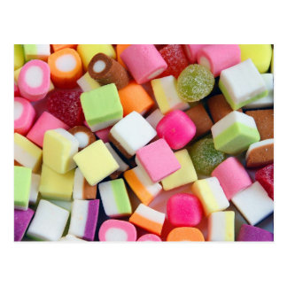 Colorful party candy mix print postcard