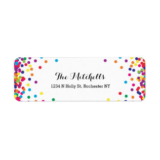 Colorful Party Confetti Return Address Labels