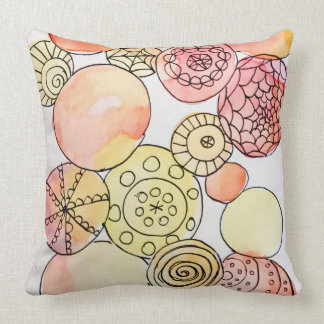 Colorful Pastel Abstract Watercolor Circle Doodle Cushion