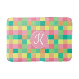 Colorful Pastel Checkboard with Custom Monogram Bath Mat