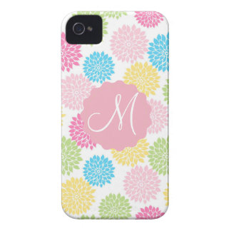 Colorful Pastel dahlia flowers pattern iPhone 4 Cases