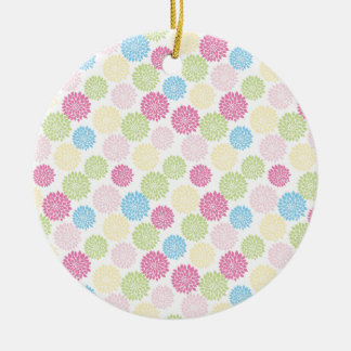 Colorful Pastel dahlia flowers pattern Round Ceramic Decoration