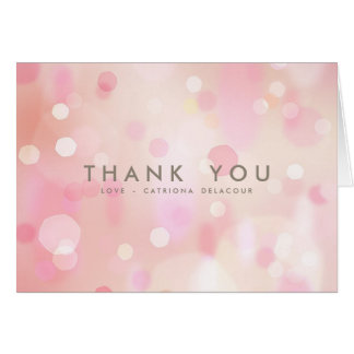 Colorful Pastel Lights Bokeh Thank You Card