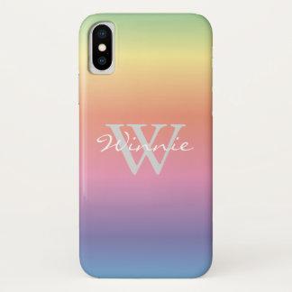 Colorful Pastel Rainbow Colors Monogram iPhone X Case
