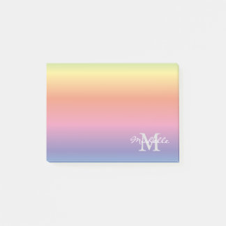 Colorful Pastel Rainbow Colors Monogram Post-it Notes