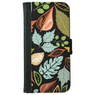 Colorful Pastel Random Leafs Pattern iPhone 6 Wallet Case