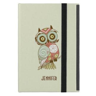 Colorful Pastel Tones Retro Floral Owl iPad Mini Case