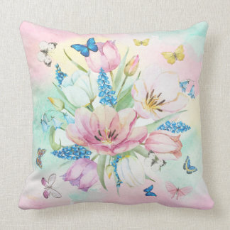 Colorful Pastel TonesFlowers & Butterfly's Cushion