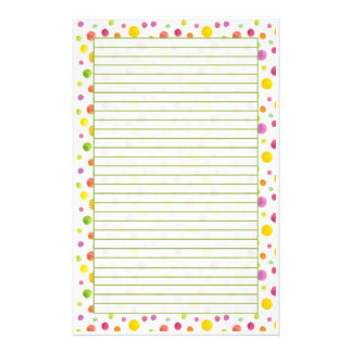 Colorful Pastel Watercolor Dots Lined Stationery