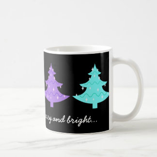 Colorful Pastel Xmas Trees,  Bright holiday mug