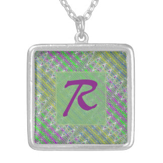 Colorful Pastel Zigzag Pattern Monogram Silver Plated Necklace