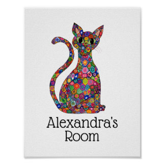 Colorful Patchwork Flower Cat Monogram Name Room Poster