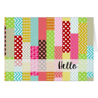 Colorful Patchwork Hello Card