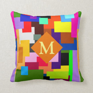 Colorful Patchwork Layers Modern Abstract Monogram Cushion