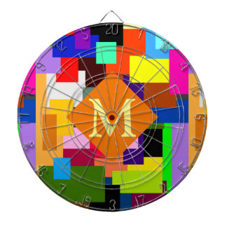 Colorful Patchwork Layers Modern Abstract Monogram Dartboards