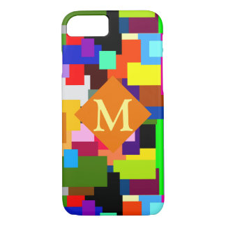 Colorful Patchwork Layers Modern Abstract Monogram iPhone 8/7 Case