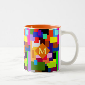 Colorful Patchwork Layers Modern Abstract Monogram Two-Tone Coffee Mug