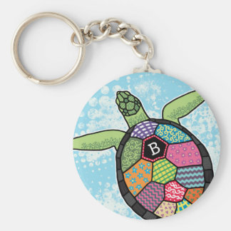 Colorful Patchwork Pattern Monogram Sea Turtle Basic Round Button Key Ring
