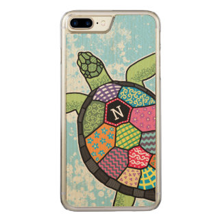 Colorful Patchwork Pattern Monogram Sea Turtle Carved iPhone 8 Plus/7 Plus Case