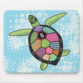 Colorful Patchwork Pattern Monogram Sea Turtle Mouse Pad