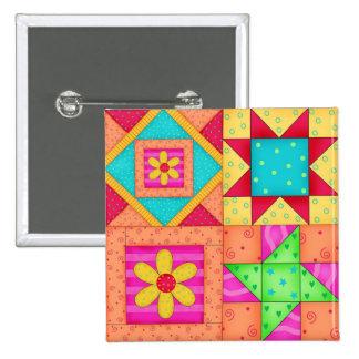 Colorful Patchwork Quilt 4 Block Pins