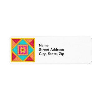 Colorful Patchwork Quilt Art Block Return Address Label