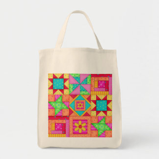 Colorful Patchwork Quilt Art Grocery Tote Bag