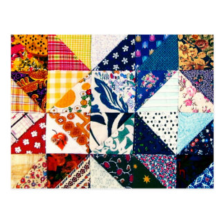 Colorful Patchwork Quilt Crafty Crafter's Postcard