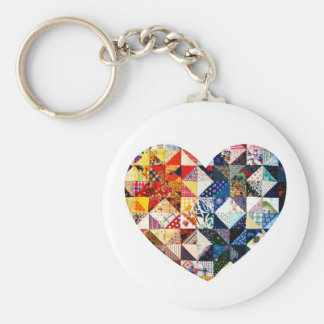 Colorful Patchwork Quilt Heart Basic Round Button Key Ring