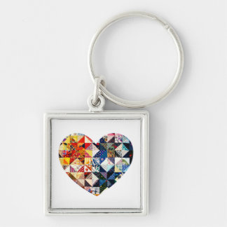 Colorful Patchwork Quilt Heart Silver-Colored Square Key Ring