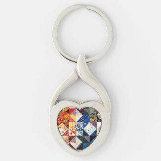 Colorful Patchwork Quilt Heart Silver-Colored Twisted Heart Key Ring