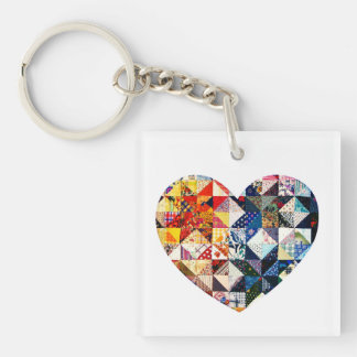 Colorful Patchwork Quilt Heart Single-Sided Square Acrylic Key Ring