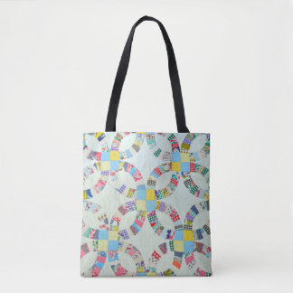 Colorful patchwork quilt pattern tote bag