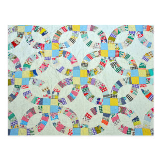 Colorful patchwork quilt postcard