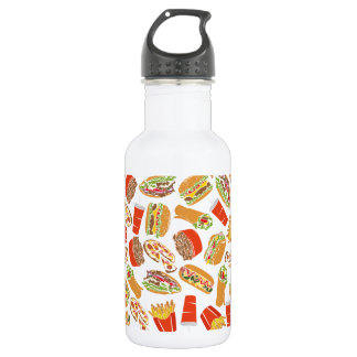 Colorful Pattern Illustration Fast Food 532 Ml Water Bottle