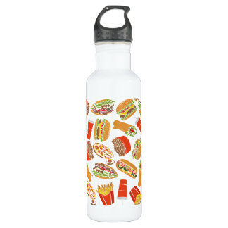 Colorful Pattern Illustration Fast Food 710 Ml Water Bottle