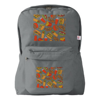Colorful Pattern Illustration Fast Food Backpack