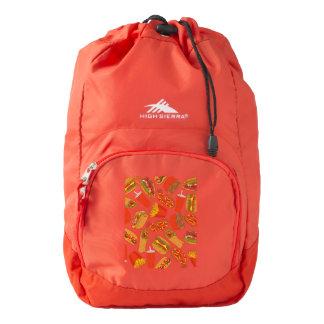 Colorful Pattern Illustration Fast Food Backpack